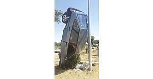 Kaza yapan aracın görüntüsü şaşırttı