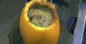 Portakal kabuğunda Türk Kahvesi yapımı