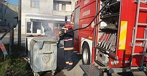 Çöp bidonu yangını itfaiyeyi harekete geçirdi