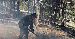 Çıkan orman yangınını vatandaşlar söndürdü