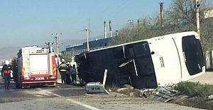 Yolcu otobüsü devrildi, 1 yaralı