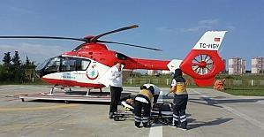 Kalp krizi geçiren şahıs ambulans helikopter ile hastaneye sevk edildi