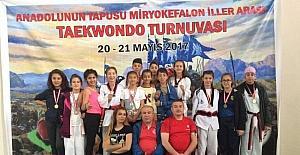 Taekwondo tunuvasından madalyalarla döndüler
