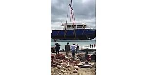 Çıldır Gölü'ne tekne indirildi