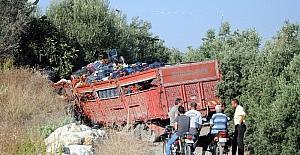 Domates yüklü kamyon taş duvara çarptı: 1 yaralı