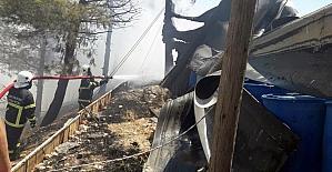 Jandarma Özel Harekat Tabur Komutanlığı yanında korkutan yangın