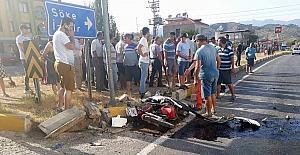 Selimiye'de otomobil ile motosiklet çarpıştı, 1 yaralı