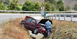 Sinop'ta otomobil kanala uçtu