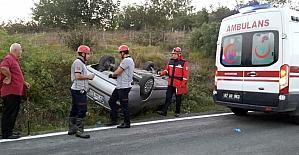 Yoldan çıkan otomobil takla attı: 3 yaralı