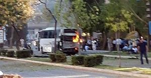 Mersin polis aracına bombalı saldırı
