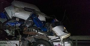 Salça yüklü kamyon yan yattı, sürücü...