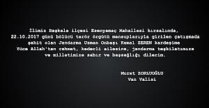 Vali Zorluoğlu, şehit Zeren için...