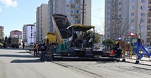 Çerkezköy'de yol yapım çalışmaları