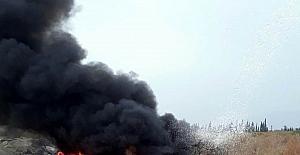 Havran'da lastik yangını ilçeyi duman altında bıraktı
