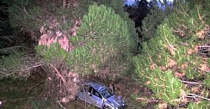 Kamyonet 15 metreden bahçeye uçtu: 1 yaralı