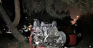 Takla atan araçtan yaralı olarak kurtarıldı