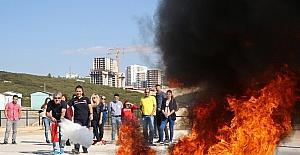 Buca'da uygulamalı yangın eğitimi