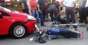 Otomobille motosiklet çarpıştı, 2 kişi yaralandı
