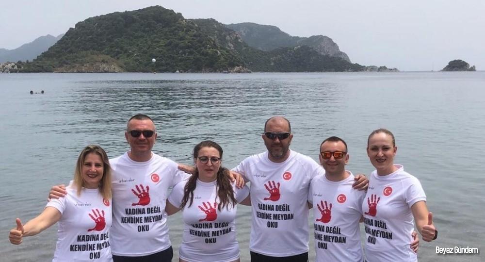 Kadına şiddete karşı Çeşme'den Seferihisar'a yüzecekler