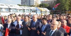 Aydın'dan, Elazığ ve İdlib'e 28 tırlık yardım malzemesi konvoyu yola çıktı