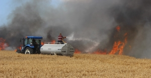 Tarım arazisi kül oldu