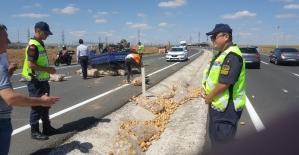Patates yüklü kamyonet devrildi patatesler yola saçıldı