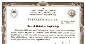 Bakanlıktan Devrek Belediyesi'ne teşekkür belgesi