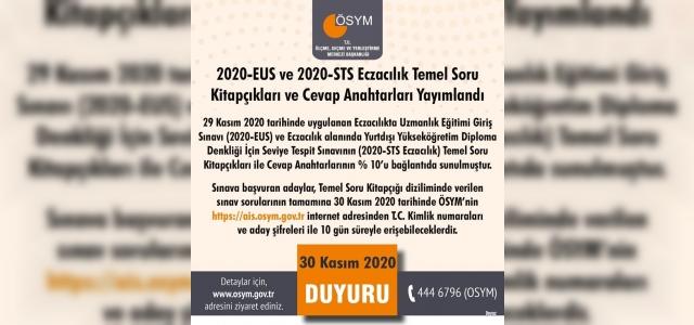 """ÖSYM: """"2020-EUS ve 2020-STS Eczacılık temel soru kitapçıkları ve cevap anahtarları yayımlandı."""""""