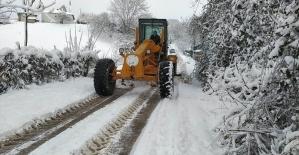 Altınovada karla mücadele devam...