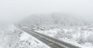 Kar yağışı sonrasında Bolu Dağı'nda muhteşem manzara oluştu
