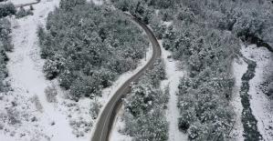 (Özel) Bursa'da kar yağışı sonrası tablo gibi görüntüler