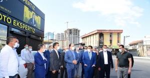 Gürkan, sanayi kavşağında asfalt çalışmalarını inceledi